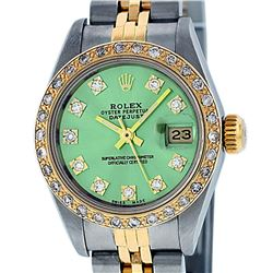 Rolex Ladies 2 Tone Green VS Diamond Oyster Perpetual Datejust Wristwatch