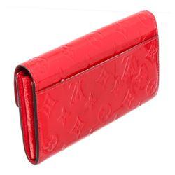 Louis Vuitton Red Monogram Vernis Leather Sarah Wallet NM