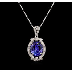 18KT White Gold 6.20 ctw Tanzanite and Diamond Pendant With Chain