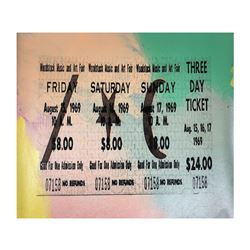 """Steve Kaufman (1960-2010), """"1969 Woodstock Ticket"""" Hand Signed and Numbered Limi"""