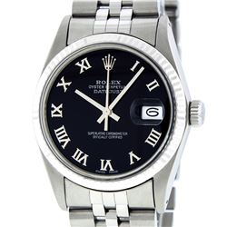 Rolex Mens Stainless Steel Black Roman Datejust 36MM Wriswatch Datejust