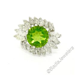 Vintage Platinum 10.20 ctw Round Peridot and Marquise Diamond Ring