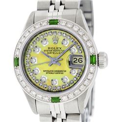 Rolex Ladies Stainless Steel Yellow MOP Emerald & Diamond Datejust Wristwatch