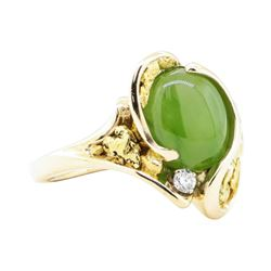0.05 ctw Diamond and Jade Ring - 14-24KT Yellow Gold