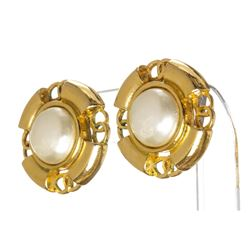 Chanel Gold Faux Pearl Clip On Earrings