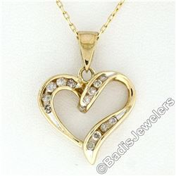 10kt Yellow Gold 0.26 ctw Channel Set Round Diamond Open Heart Pendant Necklace