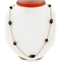 "Vintage 10kt Yellow Gold 26.5"" Round & Custom Cut Tiger's Eye Bead Chain Necklac"
