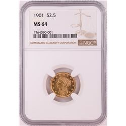 1901 $2.5 Liberty Head Quarter Eagle Gold Coin NGC MS64