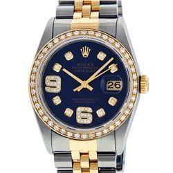 Rolex Mens 2 Tone Blue Diamond 36MM Datejust Wristwatch