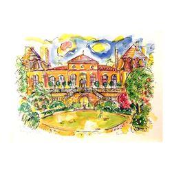 "Wayne Ensrud ""Chateau Langoa-Barton"" Mixed Media Original Artwork; Hand Signed;"