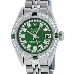 Rolex Ladies Stainless Steel Green Emerald & Diamond Datejust Wristwatch 26MM