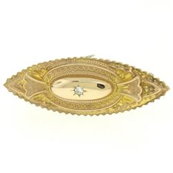 9k Yellow Gold .10 ctw Diamond Marquise Shaped Etched Brooch Pin