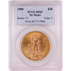 1908 NO MOTTO $20 St. Gaudens Double Eagle Gold Coin PCGS MS65