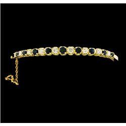 2.00 ctw Sapphire and Diamond Bangle Bracelet - 14KT Yellow Gold