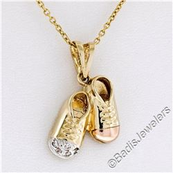 14kt Yellow White and Rose Gold Dual Baby Shoe Pendant Necklace w/ 5 Round Diamo