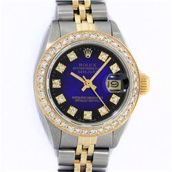 Rolex Ladies 2 Tone Blue Vignette VS Diamond Datejust Wristwatch
