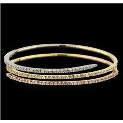 2.67 ctw Diamond Bracelet - 14KT Tri Color Gold