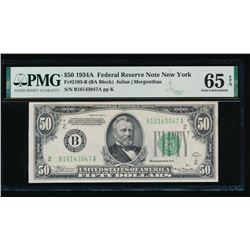 1934A $50 New York Federal Reserve Note PMG 65EPQ