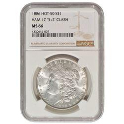 1886 $1 Morgan Silver Dollar Coin NGC MS66