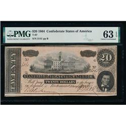 1864 $20 Confederate States of America Note PMG 63EPQ
