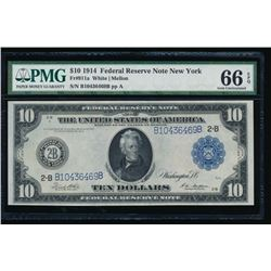 1914 $10 New York Federal Reserve Note PMG 66EPQ