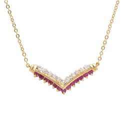 Plated 18KT Yellow Gold 0.61ctw Ruby and Diamond Pendant with Chain