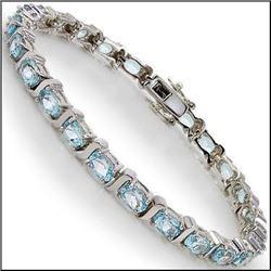 Plated Rhodium 12.55ctw Blue Topaz Bracelet