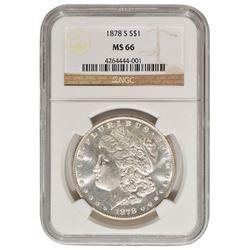 1878-S $1 Morgan Silver Dollar Coin NGC MS66