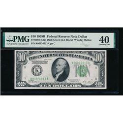 1928B $10 Dallas Federal Reserve Note PMG 40