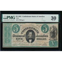 1861 $5 Confederate States of America Note PMG 30