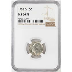 1952-D Roosevelt Dime Coin NGC MS66FT