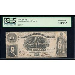 1861 $10 Confederate States of America Note PCGS 45PPQ