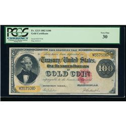 1882 $100 Gold Certificate PCGS 30
