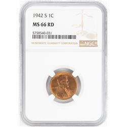 1942-S Lincoln Wheat Cent Coin NGC MS66RD