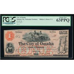 1857 $1 Omaha Obsolete Scrip Note PCGS 63PPQ