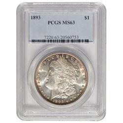 1893 $1 Morgan Silver Dollar Coin PCGS MS63