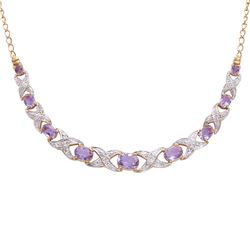 Plated 18KT Yellow Gold 4.00ctw Amethyst and Diamond Pendant with Chain