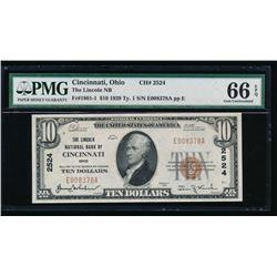 1929 $10 Cincinnati National Bank Note PMG 66EPQ