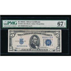 1934A $5 Silver Certificate PMG 67EPQ