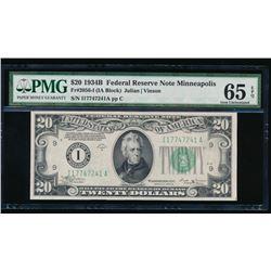 1934B $20 Minneapolis Federal Reserve Note PMG 65EPQ