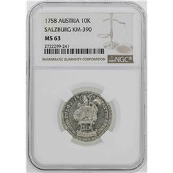 1758 Austria Salzburg 10 Kreuzer Coin NGC MS63