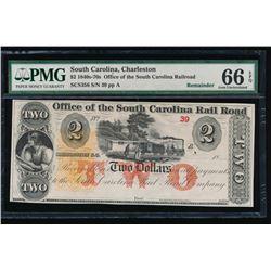 1800's $2 Charleston SC Obsolete Note PMG 66EPQ