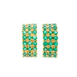 Plated 18KT Yellow Gold 2.25ctw Green Agate Earrings