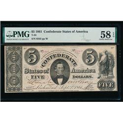 1861 $5 Confederate States of America Note PMG 58EPQ