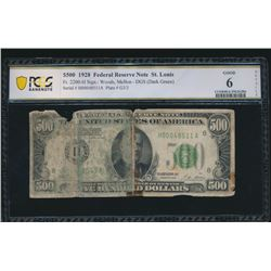 1928 $500 St Louis Federal Reserve Note PCGS 6