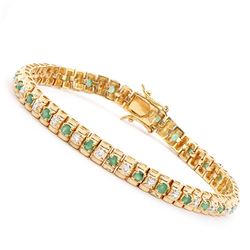 Plated 18KT Yellow Gold 1.80ctw Emerald and Diamond Bracelet