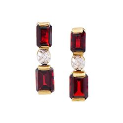Plated 18KT Yellow Gold 1.20ctw Garnet and Diamond Earrings