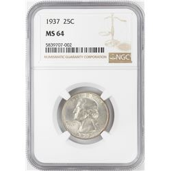 1937 Washington Quarter Coin NGC MS64