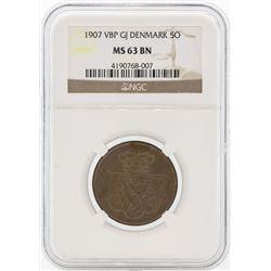 1907 VBP GJ Denmark 5 Ore Bronze Coin NGC MS63 BN