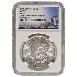 1882-O/O $1 Morgan Silver Dollar Coin NGC MS63